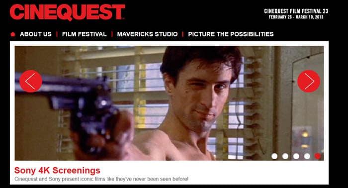 Sony 4K-Festival Promo auf der Cinequest Homepage