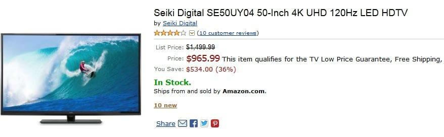 Seiki 4K TV unter 1000 Dollar bei Amazon