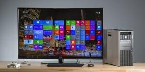 Seiki 50 Zoll 4K TV mit angeschlossener Workstation