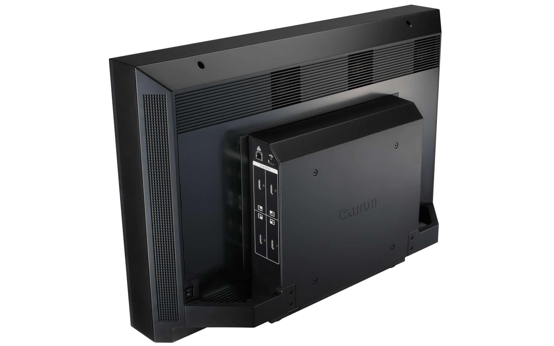 Rückansicht Canon DP-V3010 4K Monitor mit HDMI-, LAN- und USB-Anschlüssen