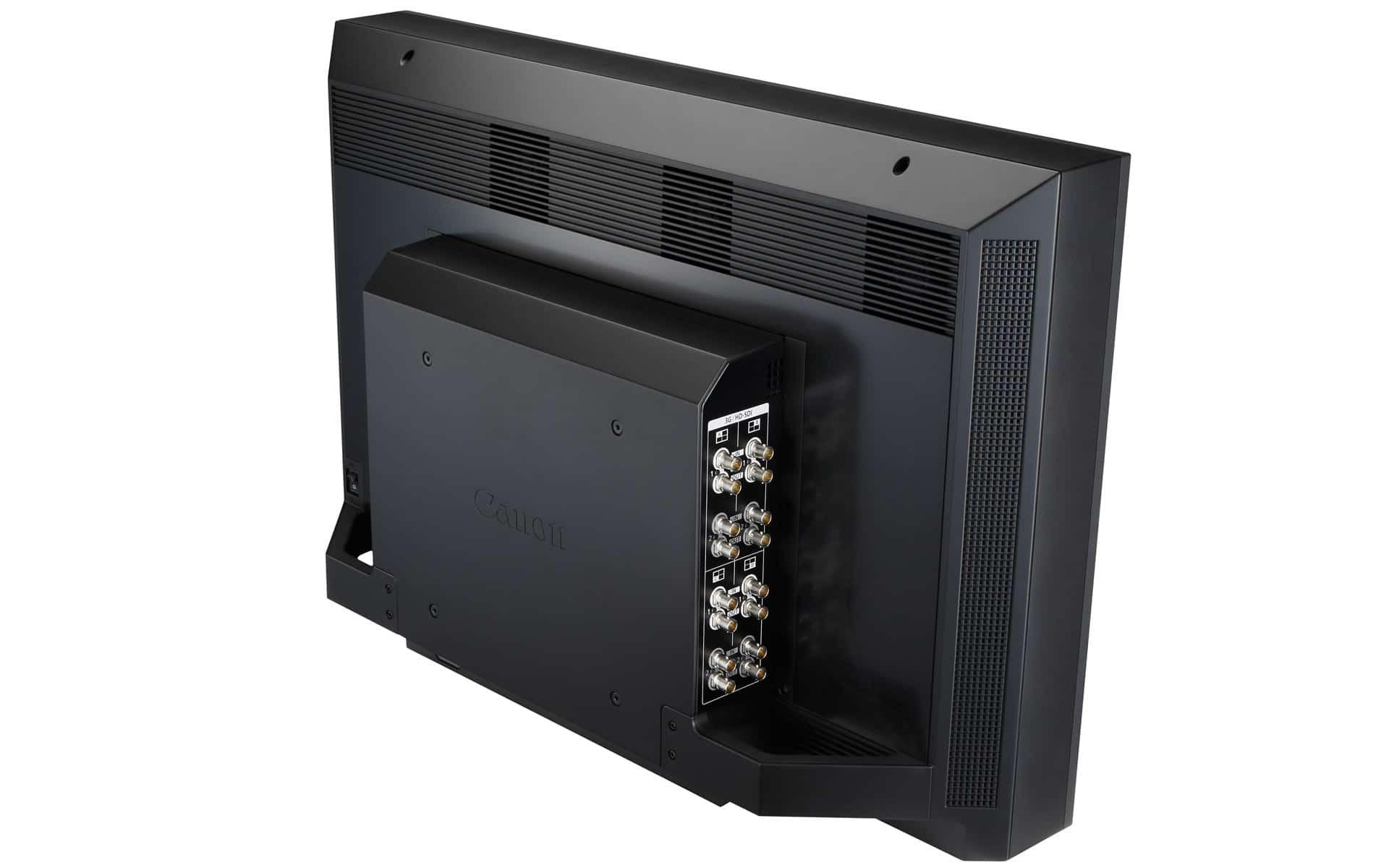 Rückansicht Canon DP-V3010 4K Monitor mit SDI-Anschlüssen