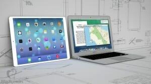 Vergleich iPad Pro 12.9 Zoll mit einem Macbook-Air 13 Zoll