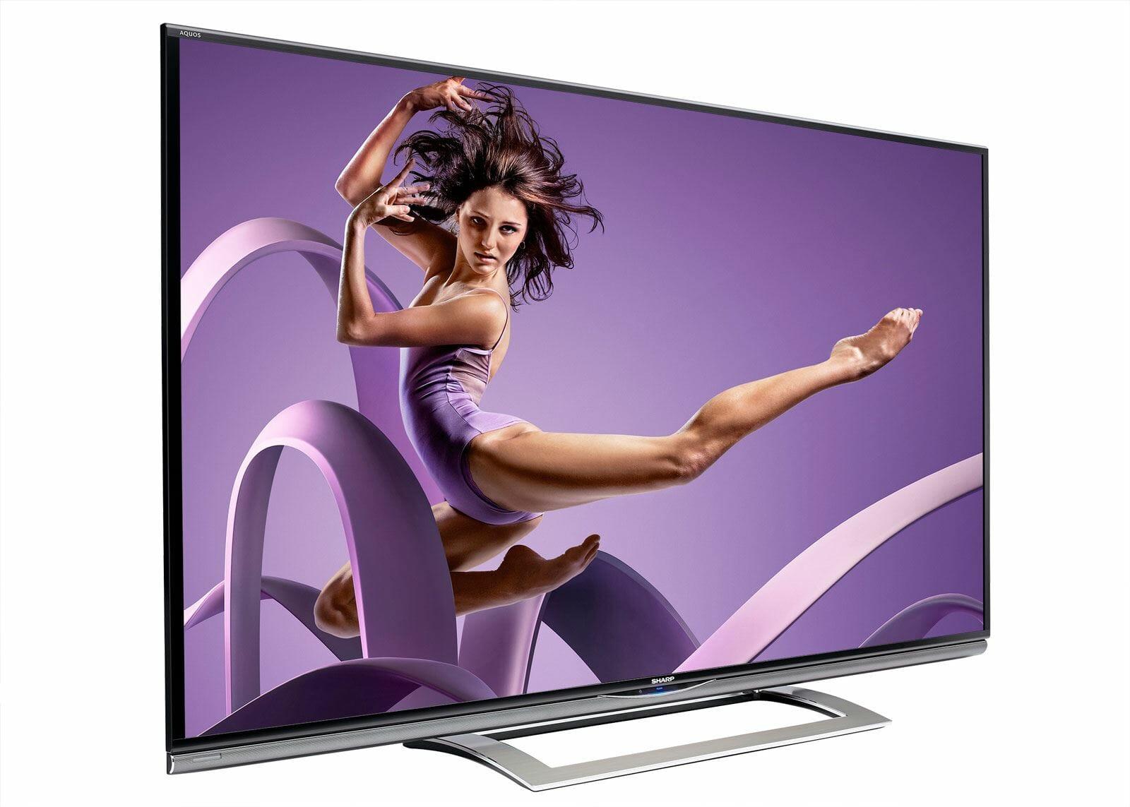 Sharp AQUOS LED 4K ULTRA HD Fernseher von der Seite