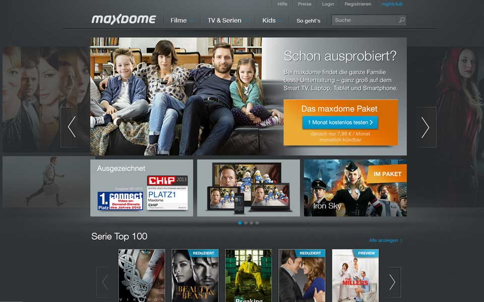 Screenshot Maxdome.de