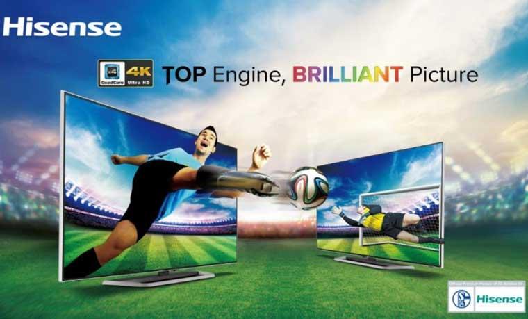 Hisense 4x4 4K TV mit flat und curved Display