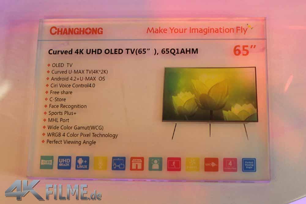 65Q1AHM Curved OLED 4K TV ChangHong