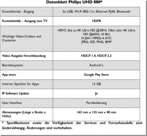 Datenblatt Philips UHD 880 Media Player