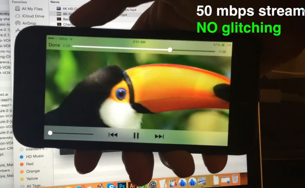 Apple iPhone 6 bei der Wiedergabe von 4K Videos