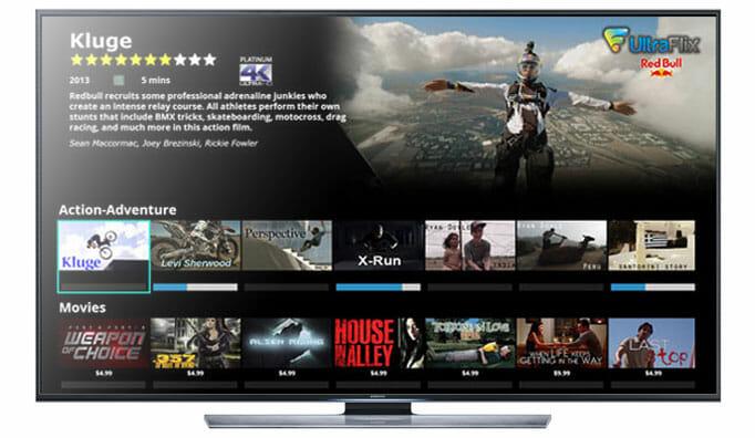 Nanotech Ultraflix 4K Stremingdienst auf einem Samsung UHD TV