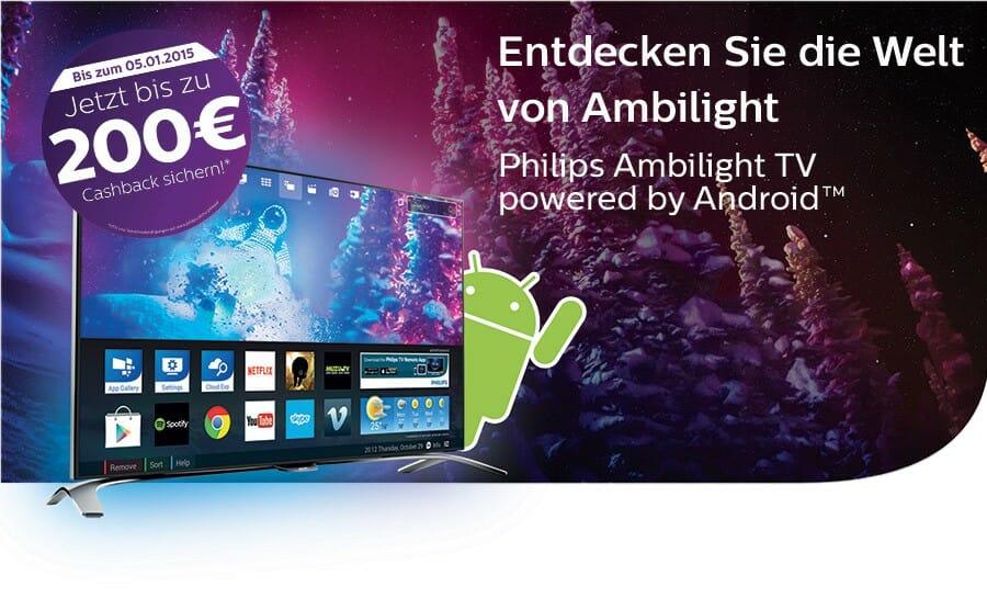 Philips 200 Euro Cashback Aktion für 4K Fernseher