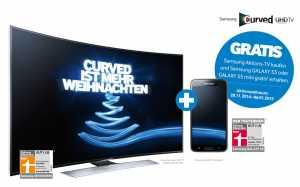 """Samsung """"Curved ist mehr Weihnachten"""" Verkaufsaktion mit Full-HD und Ultra-HD TVs + Gratis Samsung Galaxy S5 oder S5 Mini geschenkt"""