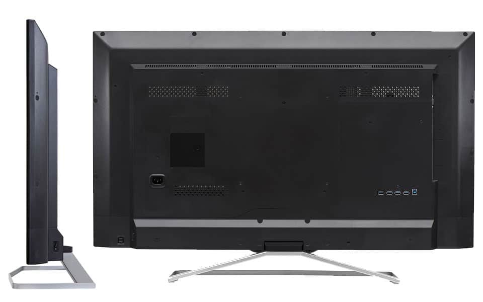 Seite und Rückseite sowe Anschlüsse des Philips BDM4065UC 4K Monitors