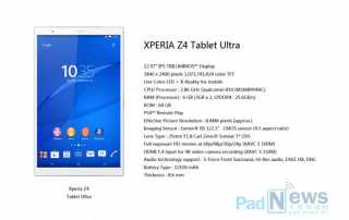 Sony Xperia Z4 Ultra Tablet mit 13 Zoll 4K Display