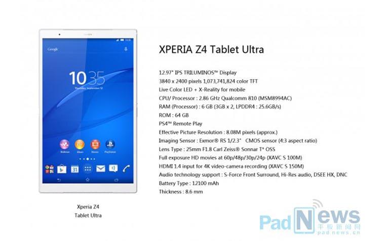 Sony Xperia Z4 Ultra Tablet mit 13 Zoll 4K Display