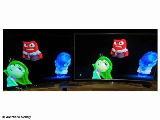 Frontansicht Vergleich LG EG9609 und Samsung JS9590