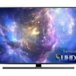 SUHD TV mit flachem Display und mattem schwarz/silber