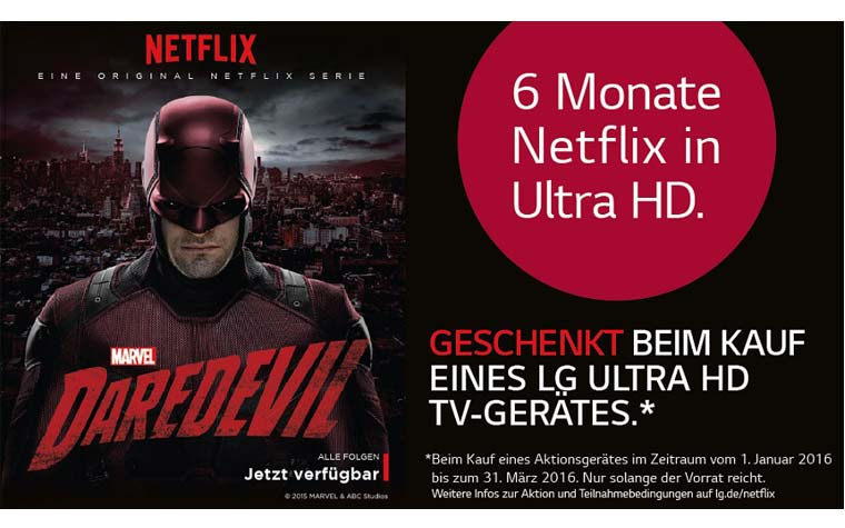6 Monate Netflix 4K gratis beim Kauf eines ausgewählten LG Ultra HD TVs