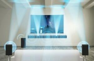 Samsung Dolby Atmos Soundbar mit zwei Satelliten-Lautsprechern