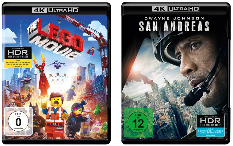 The LEgo Movie und San Andreas als 4K Blu-ray