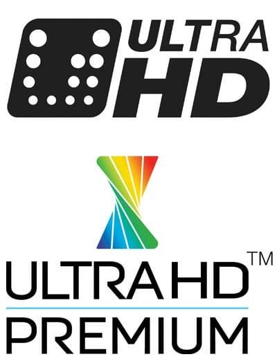 Das Ultra HD Logo der CEA (oben) deckt nur die Mindestvoraussetzungen ab. Das Ultra HD Premium Logo (unten) trifft auch Aussagen zur Bildqualität