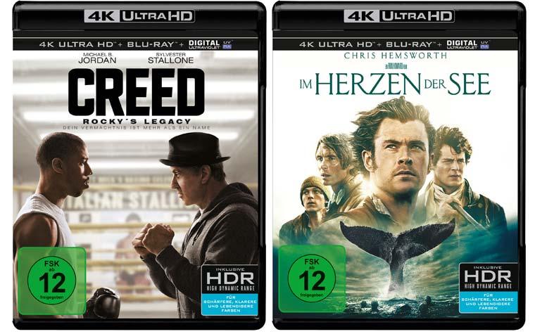 Creed Rockys Legacy und Im Herzen der See erscheinen am 18. Mai auf 4K Blu-ray