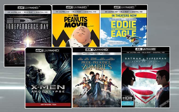 4K Blu-ray Vorschau für 2016