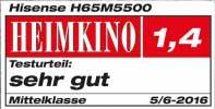 """Das Magazin Heimkino bewertete den H65M5550 in der Kategorie Mittelklasse-TV mit dem Testurteil """"Sehr gut"""" (Note 1.4)"""