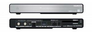 Rückseite des HUMAX UHD 4tune+ mit HDMI 2.0 Ausgang, USB-Eingängen, zwei LNB-Eingängen, SPDIF, AV sowie Ethernet