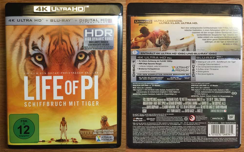 Life of Pi Vorder- und Rückseite der 4K Blu-ray