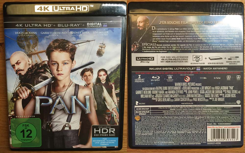 Pan Vorder- und Rückseite der 4K Blu-ray