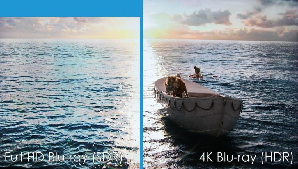 Vergleich zwischen HD-Blu-ray (SDR) und 4K Blu-ray (HDR). Auch das Format ist in dieser Szene unterschiedlich