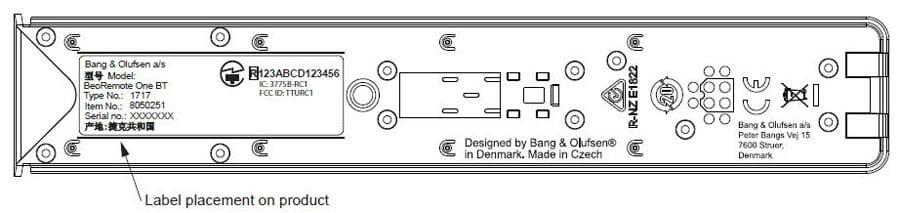 Skizze der neuen BeoRemote One BT aus den FCC-Papieren