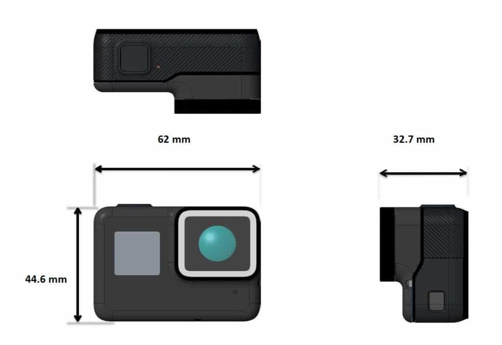 CAD-Skizze der GoPro Hero 5