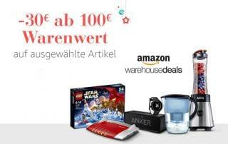 30 Euro Rabatt ab 100 Euro Warenwert bei den Amazon Warehouse Deals