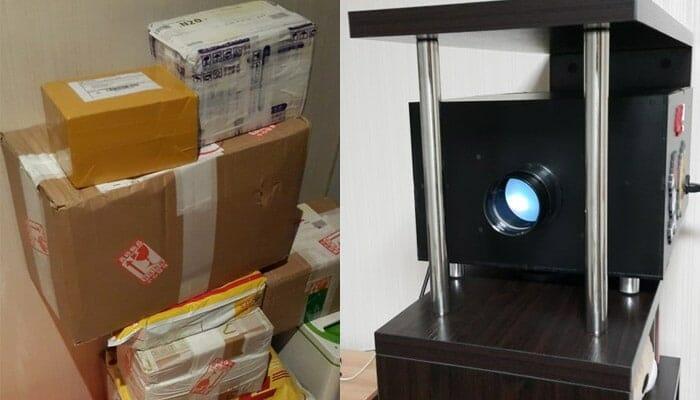 """Aus diesem Berg Pakete """"zauberte"""" BumHee34"""" einen voll funktionsfähigen 4K Projektor (rechts)"""