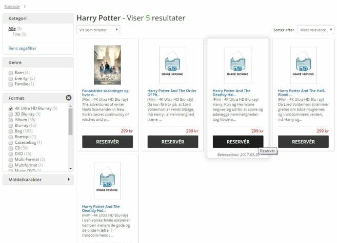 Der dänische Online-Shop cdon.dk listet bereits die letzten vier Harry Potter Filme auf 4K Blu-ray