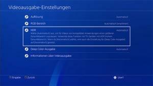 Videoausgabe-Eisntellungen der Playstation 4 Pro