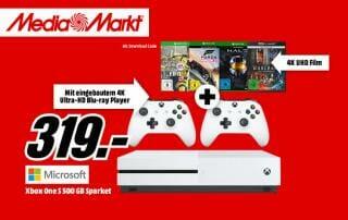 Xbox One Sale Bundle mit 3 Spielen 2 Controllern und einer 4K Blu-ray