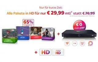 Sky Pakete mit Sky+Pro Receiver für nur 29.99 Euro monatlich