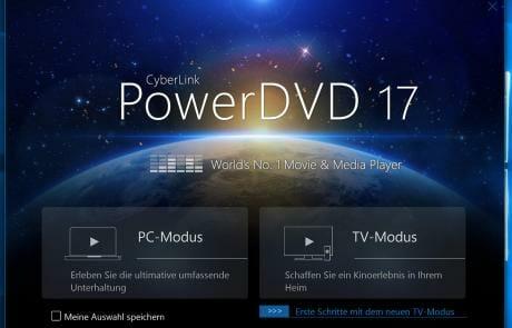 Zum Start können wir zwischen PC- und TV-Modus wählen