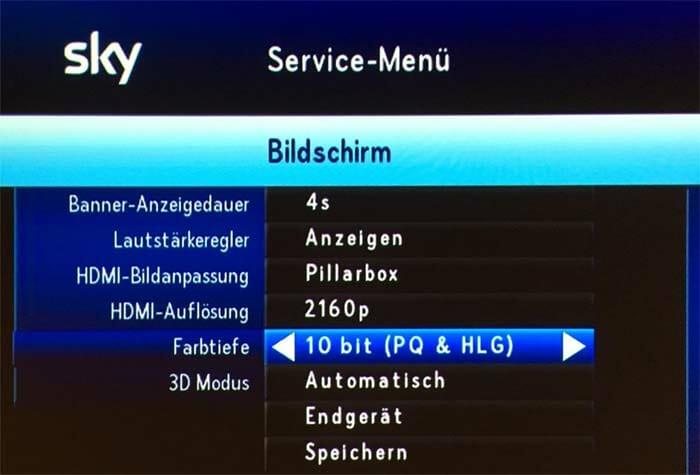 Im Bildschirm-Menü des Sky+ Pro UHD Receivers findet man nun Einstellungsmöglichkeiten für die Farbtiefe und den HDR Modus (HLG & PQ)