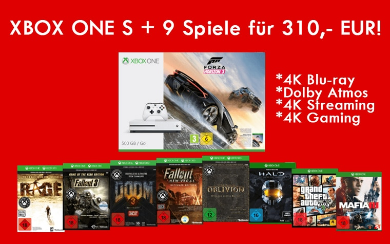 xbox one s mit 4k laufwerk 9 spiele f r nur 310 eur. Black Bedroom Furniture Sets. Home Design Ideas