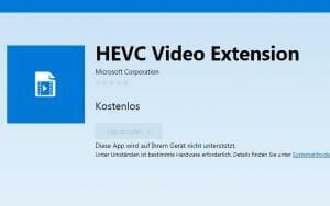 HEVC Video Update für Windows 10 Geräte