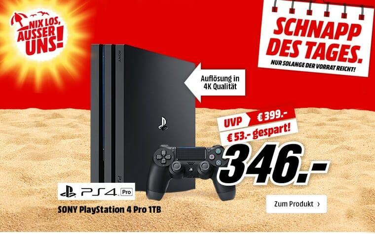 Playstation 4 Pro zum Bestpreis von 346,- EUR auf Mediamarkt.de
