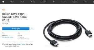 HDMI 2.1 48G-Kabel von Belkin im Apple Shop aufgetaucht