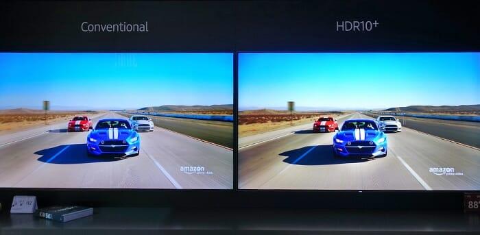 """Das neue High Dynamic Range Format """"HDR10+"""" war am Stand von Samsung ein großes Thema"""