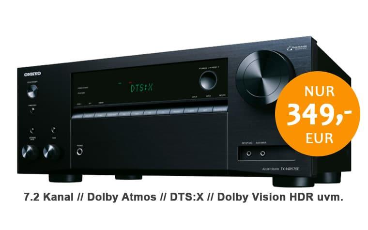 Den ONKYO TX-NR575E 7.2 AV-Receiver mit Dolby Atmos, DTS:X und Dolby Vision gibt es für günstie 349,- EUR