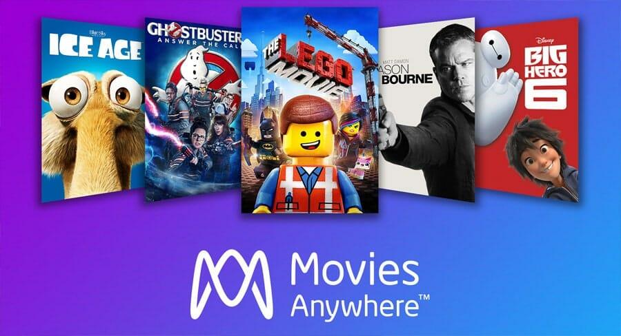 """""""Movies Anywhere""""-Logo mit einer kleinen Produktauswahl"""