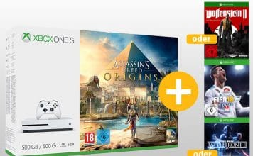 Xbox One S - Assassins Creed Origins Bundles + ein weiteres Spiel ab 219,- Euro!