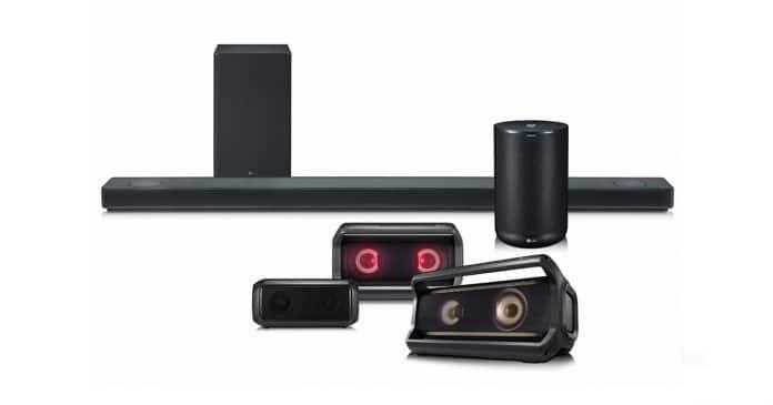 Der SK10Y Dolby Atmos Soundbar versteckt sich auf dem LG Sound-Lineup Bild ganz hinten